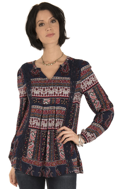 Long Sleeve Woven With Crochet Trim In Navy