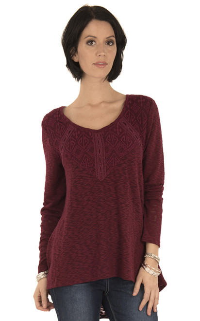 Long Sleeve Lace Top In Vintage Ruby