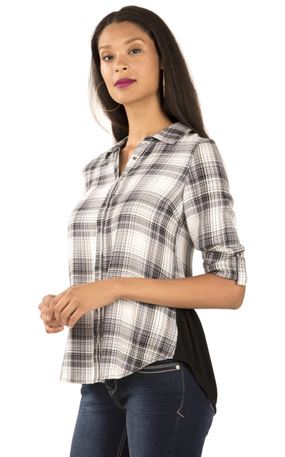 Long Sleeve Plaid Chambray Top In Jet Black