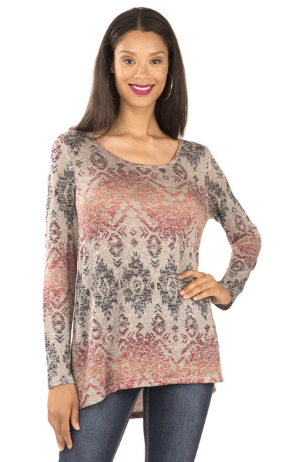 Long Sleeve Knit Top In Concrete