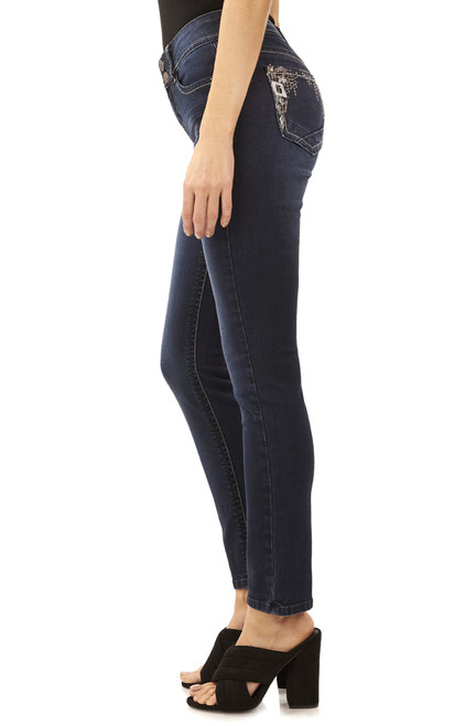 Curvy Double Button Embellished Straight Jeans In Sofia