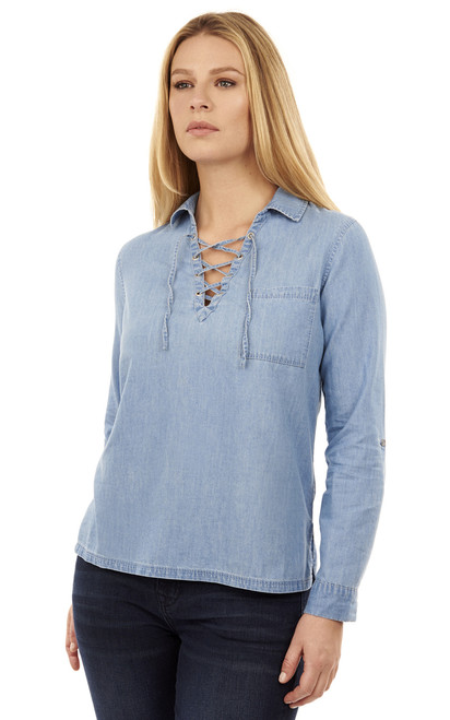 Chambray Top In Light Wash