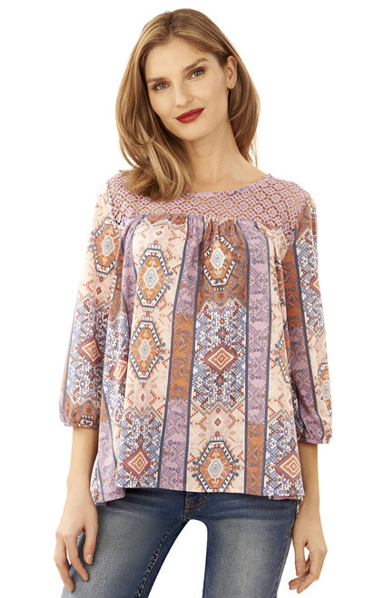 Printed Knit Swing Top In Lilac