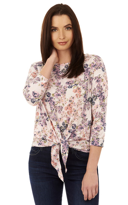 Floral Front Tie Knot Top In White