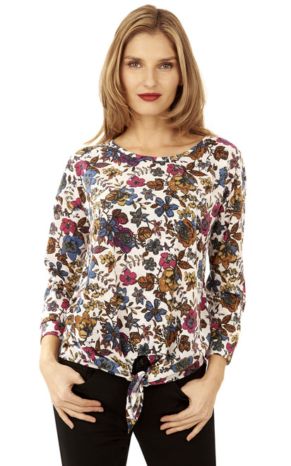 Floral Front Tie Knot Top In Hazy Sky