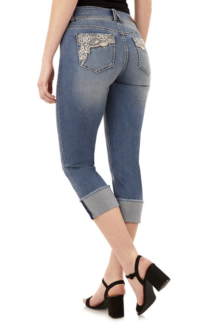 Curvy Embellished Cropped Jeans In Baltic