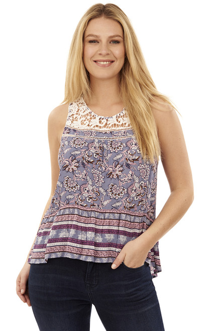 Mix Print Crochet Tank Top In Hazy Sky