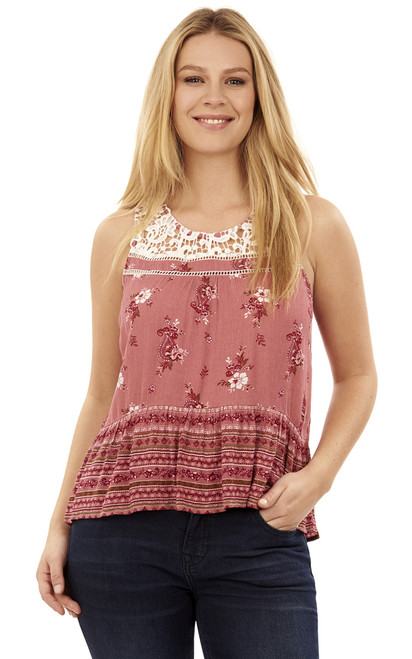 Mix Print Crochet Tank Top In Mauve Rose