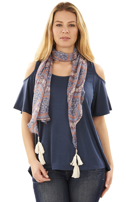 Cold Shoulder Tee with Scarf In Storm Blue