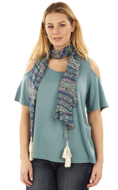 Cold Shoulder Tee with Scarf In Vintage Teal