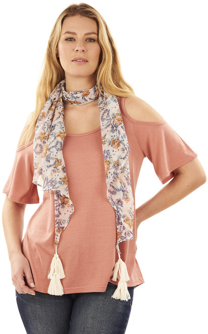 Cold Shoulder Tee with Scarf In Rose