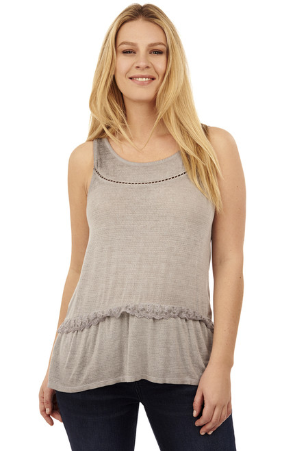 Vintage Wash Tank Top In Light Grey Heather