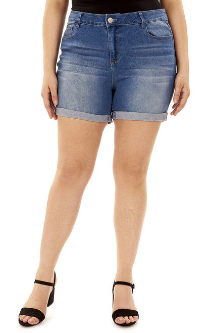 Plus Size Signature Embellished Shorts In Aegean