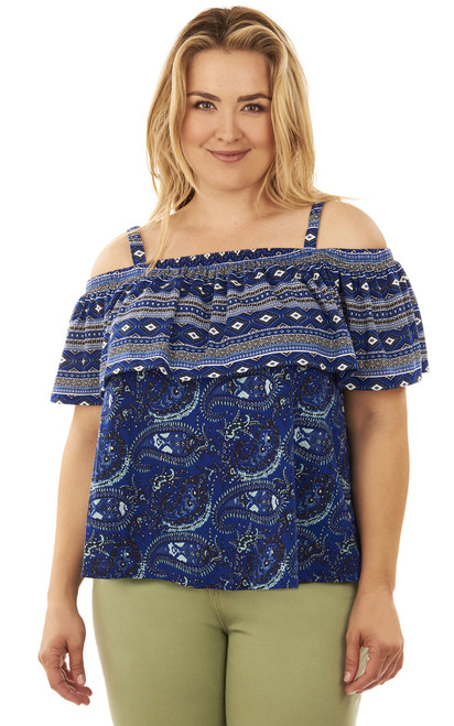 Plus Size Mixed Print Cold Shoulder Top In Mazarine Blue