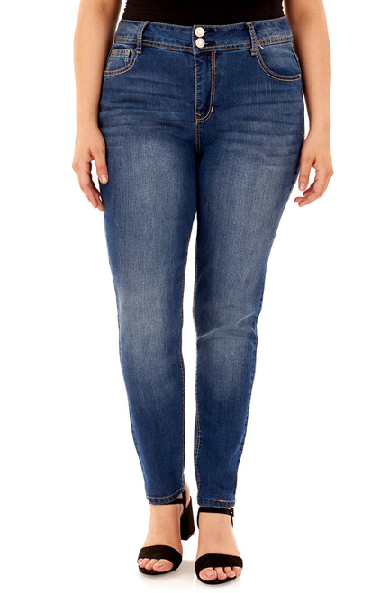 Plus Size Basic Curvy Skinny Jeans In Pacific