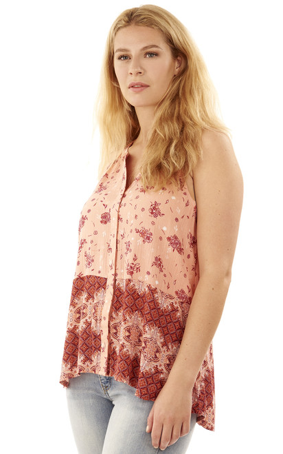 Button Down Printed Sleeveless Top In Blooming Dahlia