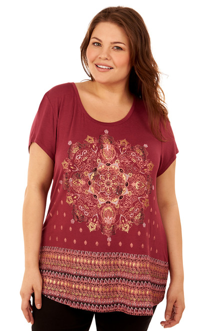 Plus Size Graphic Print Short Sleeve Top In Regal Wine Print
