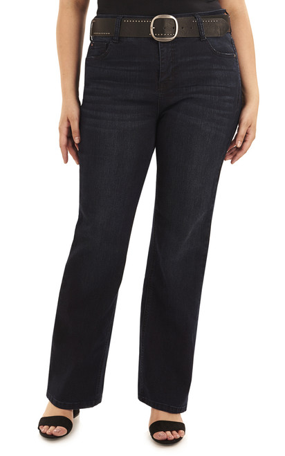 Plus Size Curvy Belted Bootcut Jeans In Amaryllis