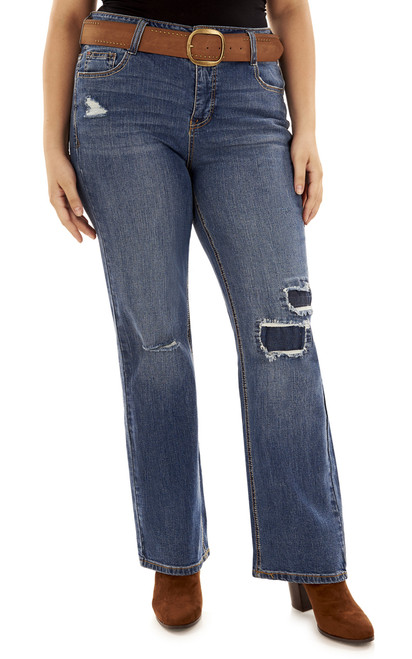 Plus Size Curvy Belted Bootcut Jeans In Yale