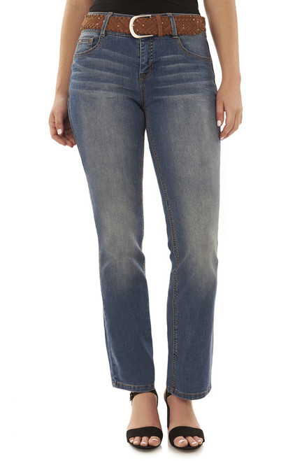 Curvy Belted Bootcut Jeans In Baltic