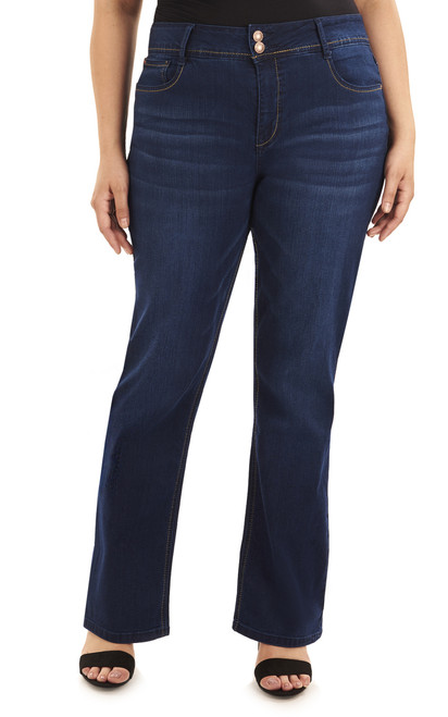 Plus Size Basic Curvy Bootcut Jeans In Midnight