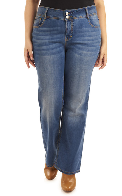 Plus Size Basic Curvy Bootcut Jeans In Baltic