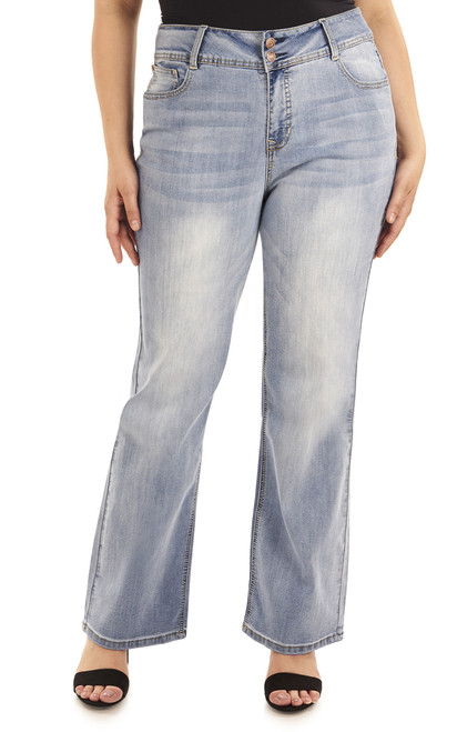 Plus Size Basic Curvy Bootcut Jeans In Atlantic