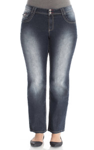 Plus Size Double Button Short Inseam Bootcut Jeans In Gaby