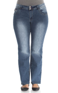 Plus Size Double Button Short Inseam Bootcut Jeans In Adele