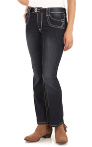 Short inseam Double Button Bootcut Jeans In Agnes
