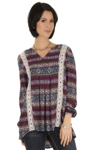 Long Sleeve Woven With Crochet Trim In Mauve Rose