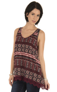 Printed Tank with Crochet Trim In Vintage Ruby