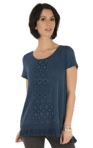 Short Sleeve Lace Top In Montana Blue