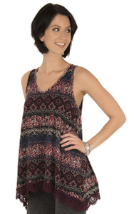 Printed Tank with Crochet Trim In Seedless Grape