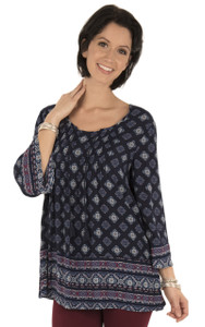 Long Sleeve Woven Print Popover In Navy