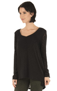Long Sleeve Lace Top In Jet Black