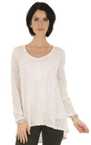Long Sleeve Lace Top In Antique White