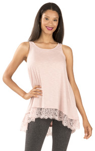 Tank with Lace Hem In Blush Terracotta