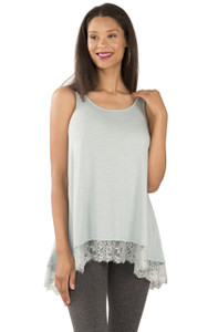 Tank with Lace Hem In Agave