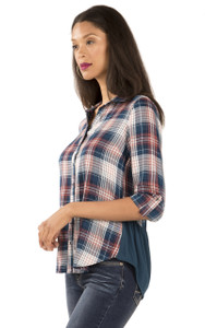 Long Sleeve Plaid Chambray Top In Montana Blue