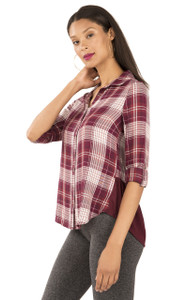 Long Sleeve Plaid Chambray Top In Vintage Ruby