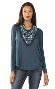 Long Sleeve Crepe Knit Top In Indian Teal
