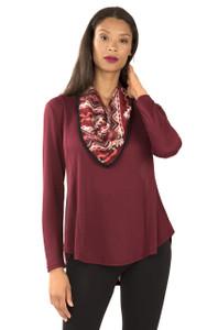 Long Sleeve Crepe Knit Top In Vintage Ruby