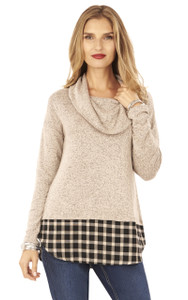 Long Sleeve Brushed Hatchi Plaid Top In Biscotti
