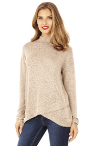Long Sleeve Mock Neck Top In Biscotti