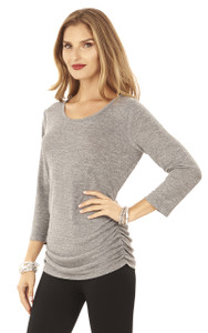 3/4 Sleeve Top with Crochet Back In Medium Heather Grey