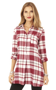 Long Sleeve Button Brushed Flannel In Garnet