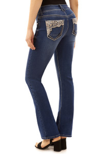 Curvy Double Button Embellished Bootcut Jeans In Addison