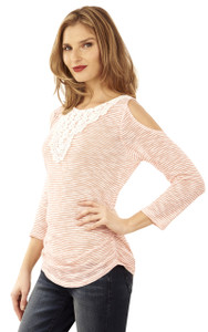 Cold Shoulder Rouched Top In Coral