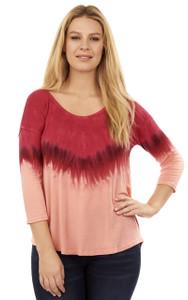 Tye Dye Jersey Knit Top In Strawberry